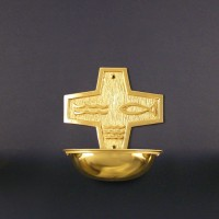 Brass holy water font